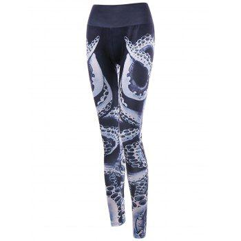 Octopus Printed High Waist Leggings - BLACK M