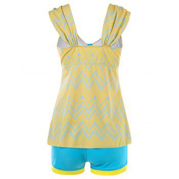Tiered Flounce Chevron Tankini Swimwear - CORN YELLOW M