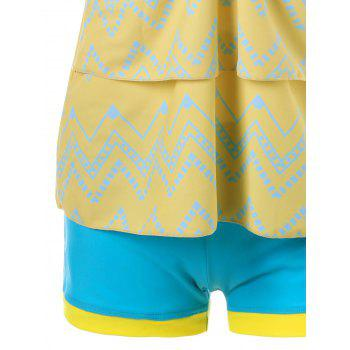 Tiered Flounce Chevron Tankini Swimwear - CORN YELLOW 2XL