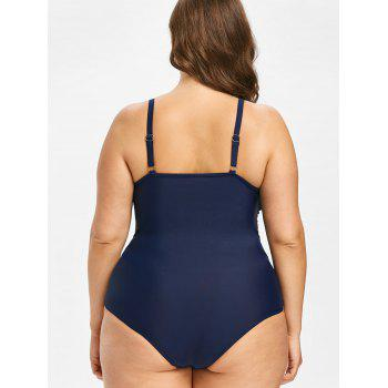 Plus Size Mesh Panel One Piece Swimsuit - MIDNIGHT BLUE 4X