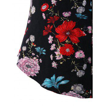 Plus Size Tropical Floral Shredding Blouse - BLACK 5X