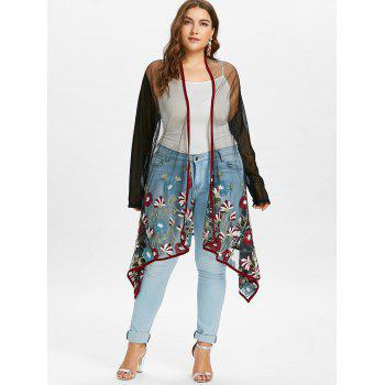 Plus Size Embroidery See Thru Coat - BLACK L