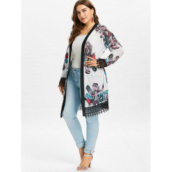 Plus Size Crochet Print Long Coat - WHITE 2X