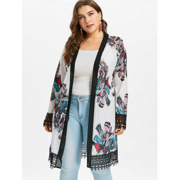 Plus Size Crochet Print Long Coat - WHITE 4X