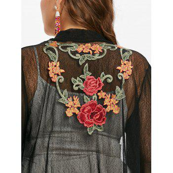 Plus Size Longline Embroidered Coat - BLACK 1X