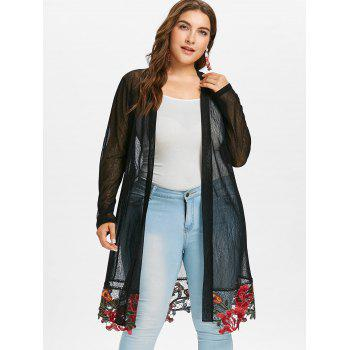 Plus Size Longline Embroidered Coat - BLACK 2X