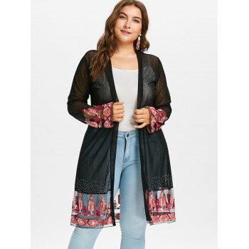 Plus Size Embroidery See Through Coat - BLACK L