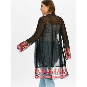 Plus Size Embroidery See Through Coat - BLACK 2X