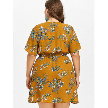 Plus Size Plunging Neck Casual Dress - BEE YELLOW 1X