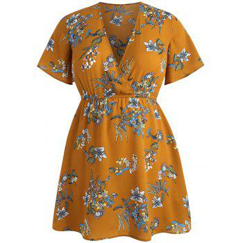 Plus Size Plunging Neck Casual Dress - BEE YELLOW 4X