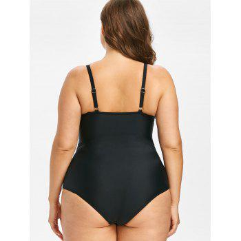 Plus Size Mesh Panel One Piece Swimsuit - BLACK 2X