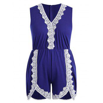 Plus Size Crochet Sleeveless Romper - EARTH BLUE L