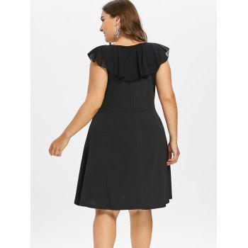 Plus Size Plunging Flounce Party Dress - BLACK L