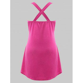 Plus Size Musical Notes Criss Cross Tank Top - PINK LEMONADE 3X