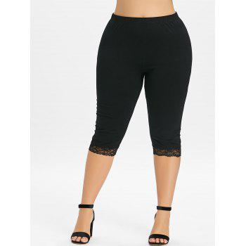 Plus Size High Waisted Lace Hem Leggings - BLACK 3X
