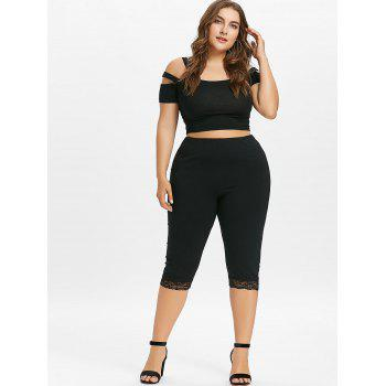 Plus Size High Waisted Lace Hem Leggings - BLACK 4X