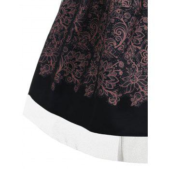 Mandala Printed Sleeveless Retro Dress - BLACK XL