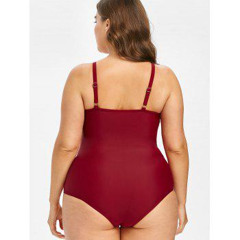 Plus Size Mesh Panel One Piece Swimsuit - RED WINE 3X