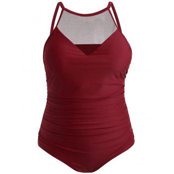 Plus Size Mesh Panel One Piece Swimsuit - RED WINE 4X