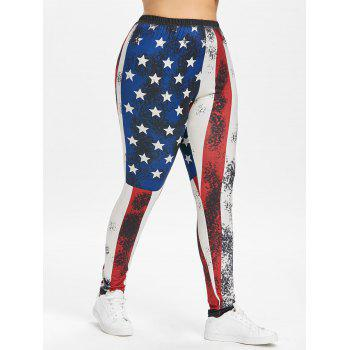 Plus Size Elastic Waist American Flag Leggings - multicolor 2X