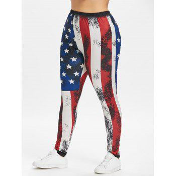 Plus Size Elastic Waist American Flag Leggings - multicolor 4X