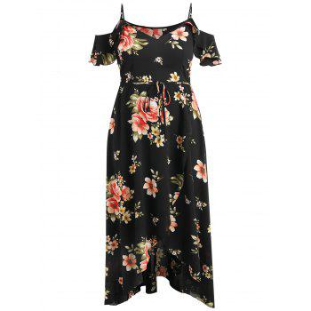 Plus Size Cold Shoulder Floral Maxi Flowing Dress - BLACK 2X