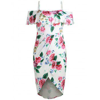 Plus Size Foldover Cold Shoulder Floral Dress - WHITE 1X