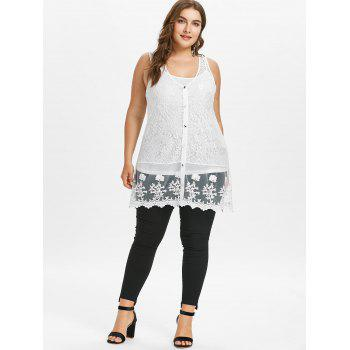 Plus Size Sheer Lace Tank Top with Button - WHITE L