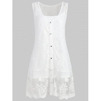 Plus Size Sheer Lace Tank Top with Button - WHITE 1X