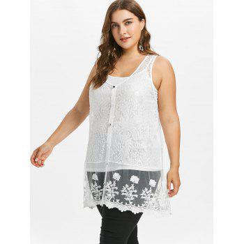 Plus Size Sheer Lace Tank Top with Button - WHITE 2X