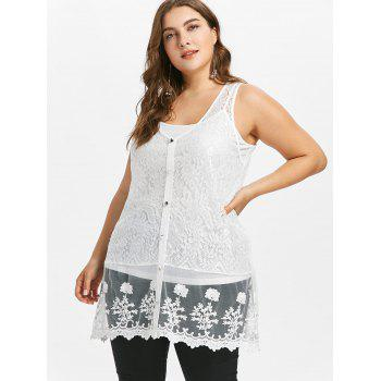 Plus Size Sheer Lace Tank Top with Button - WHITE 3X