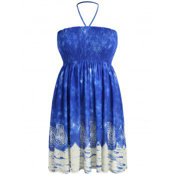 Plus Size Halter Neck Smocked Bohemian Dress - BLUE L