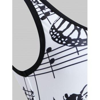 Musical Notes One Piece Backless Swimwear - WHITE M