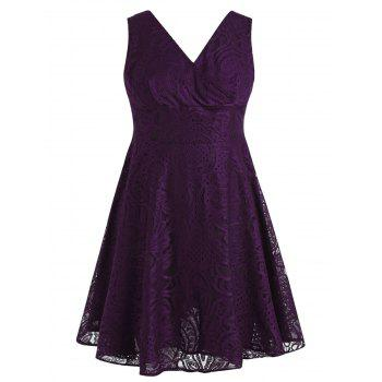 Plus Size Empire Waist Lace Dress - PURPLE L