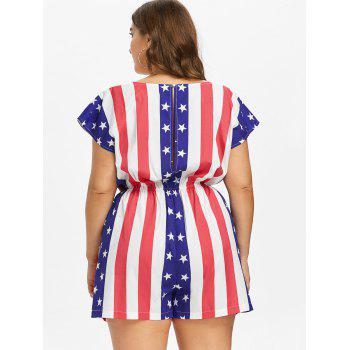 Plus Size Cap Sleeve American Flag Romper - multicolor 2X