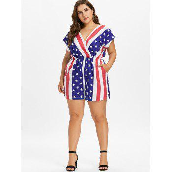 Plus Size Cap Sleeve American Flag Romper - multicolor 3X