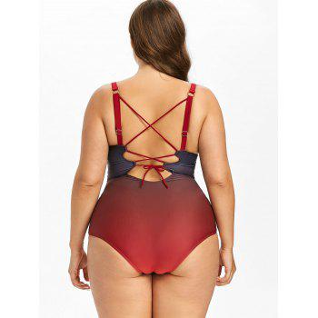 Plus Size One Piece Lace Up Swimsuit - RED 4XL
