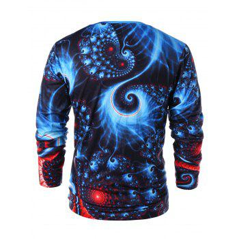 3D Abstract Fractal Spiral Print V Neck T-shirt - EARTH BLUE XL
