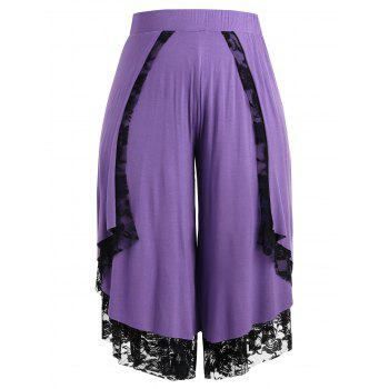 Plus Size Lace Front Wrap Wide Leg Pants - PURPLE 3X