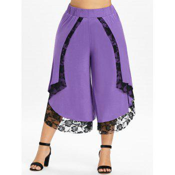 Plus Size Lace Front Wrap Wide Leg Pants - PURPLE 4X