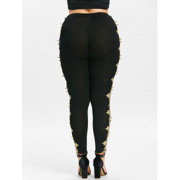 Plus Size Openwork Lace Sides Leggings - BLACK L