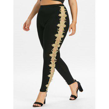 Plus Size Openwork Lace Sides Leggings - BLACK 4X