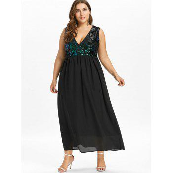 Plus Size Sequined Trim Sleeveless Flowing Dress - BLACK 3X