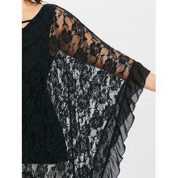 Plus Size Butterfly Sleeve Floral Flounced Blouse - BLACK 1X