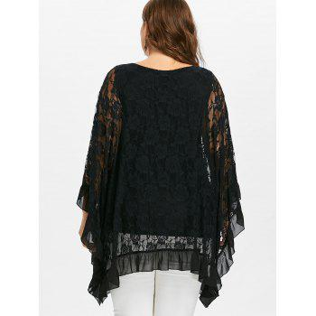 Plus Size Butterfly Sleeve Floral Flounced Blouse - BLACK 2X