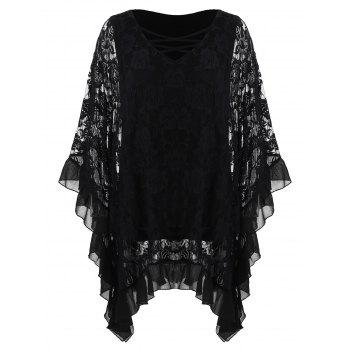 Plus Size Butterfly Sleeve Floral Flounced Blouse - BLACK 3X