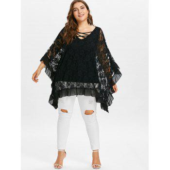 Plus Size Butterfly Sleeve Floral Flounced Blouse - BLACK 4X