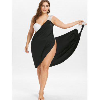 Plus Size Beach Cover-up Wrap Dress - BLACK L
