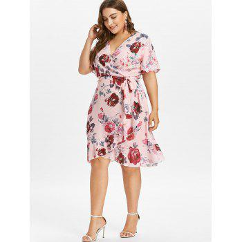 Ruffle Sleeve Plus Size Floral Surplice Dress - LIGHT PINK 5X