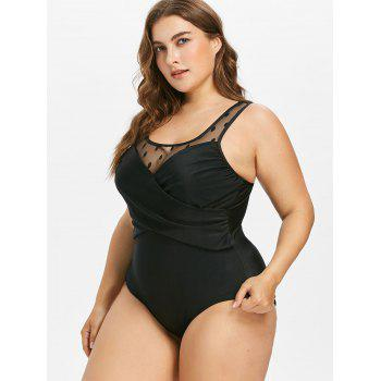 Plus Size Mesh Panel Twist Swimsuit - BLACK 3X